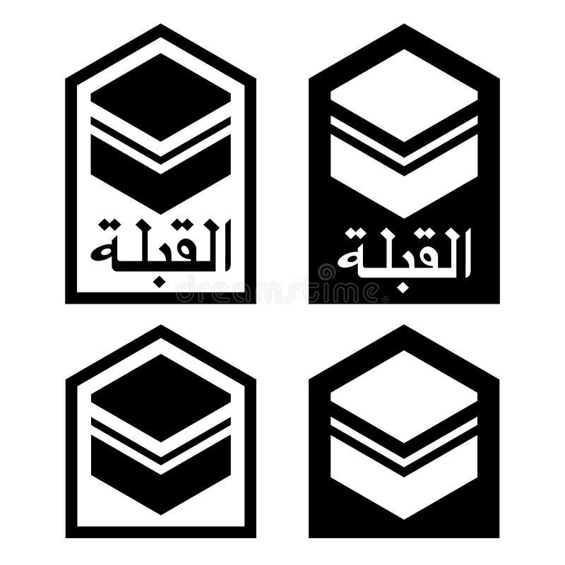 Qibla - riktning för en Mecka för att be för muslims Vektorisolat royaltyfri illustrationer