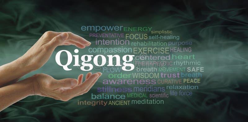 Qigong ordmoln och läkahänder royaltyfri foto