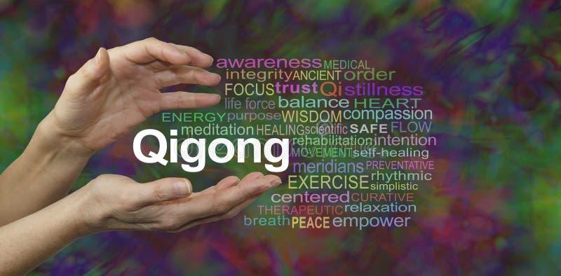 Qigong som läker ordmolnet stock illustrationer