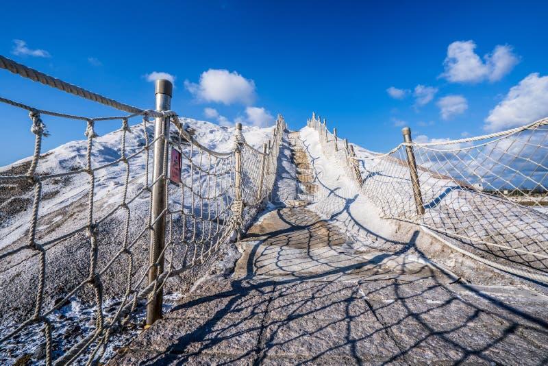 QiguCigu盐山,台南,台湾,做由变紧密的盐成固体和极端坚硬大量经过几年曝光 免版税图库摄影