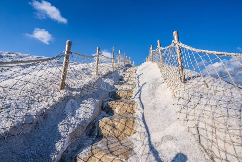 QiguCigu盐山,台南,台湾,做由变紧密的盐成固体和极端坚硬大量经过几年曝光 免版税库存图片