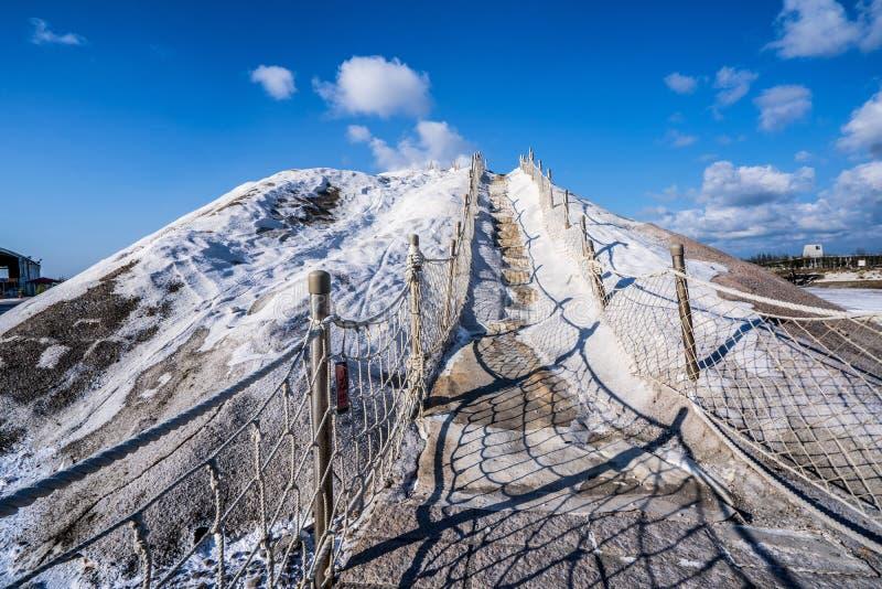 QiguCigu salt berg, Tainan, Taiwan som göras av pressat samman salt in i heltäckande och extremt hård mass till och med år av exp arkivfoto