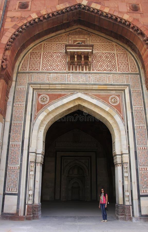 Qila-i-kuna moské, Purana Qila, New Delhi royaltyfri bild