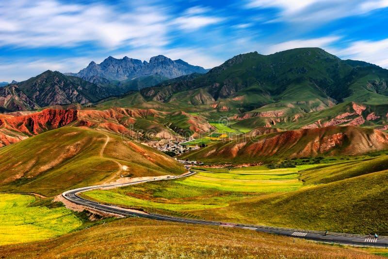 Qilian bergöverblick arkivbild