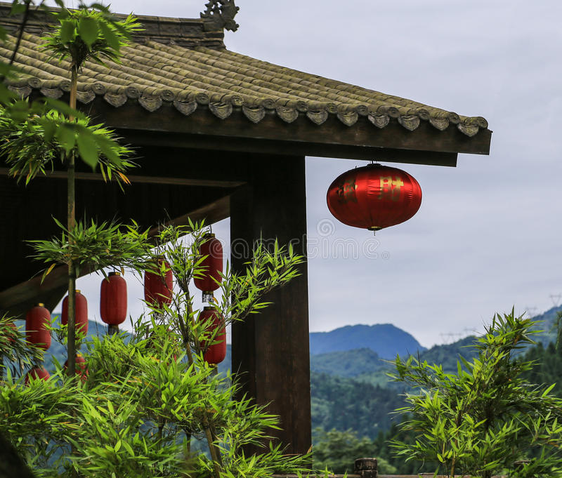 Qiliping-Erholungsort im Emei Shan, Sichuan, Porzellan stockbild