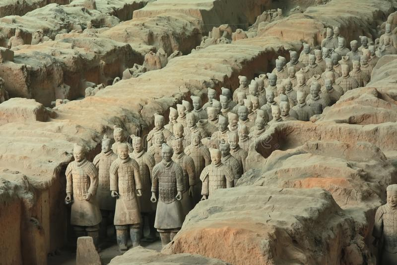 Qin Shi Huang. The terracotta army. Army. China, Xi`an: Archaeological excavations of the clay army of the emperor Qin Shi Huang. The terracotta army is a figure stock photography