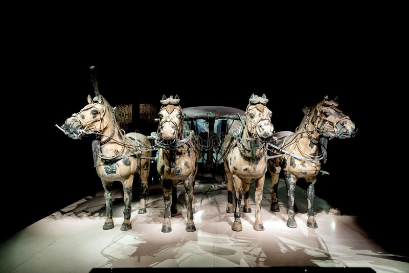Qin Shi Huang tomb unearthed bronze chariot stock photos