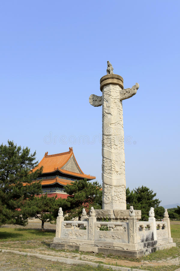 Qing dongling, huabiao. Qing dongling,,ornamental columns erected in front of palaces, tombs, etc stock photo