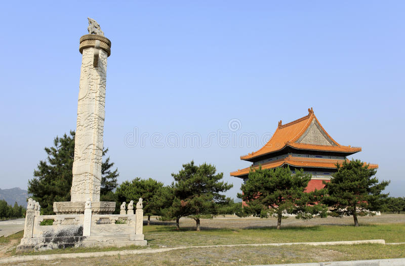 Qing dongling, huabiao. Qing dongling,,ornamental columns erected in front of palaces, tombs, etc royalty free stock photos