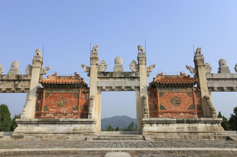 Qing dongling, longfeng door. Clear dongling is a landmark building stock photos