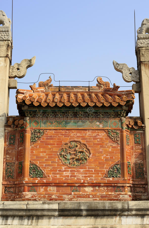 Qing dongling, longfeng door. Clear dongling is a landmark building stock images
