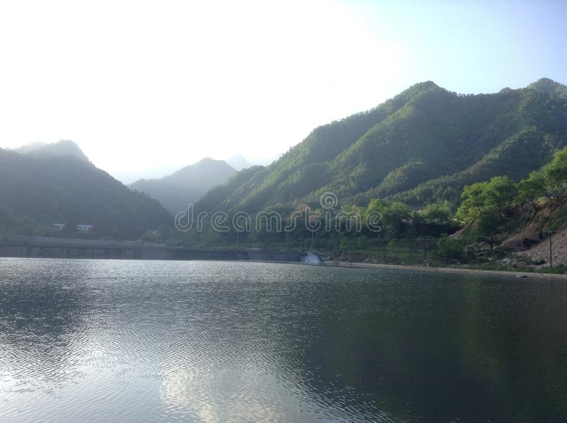 Qing ling mountains. Mountain view next to the river royalty free stock images