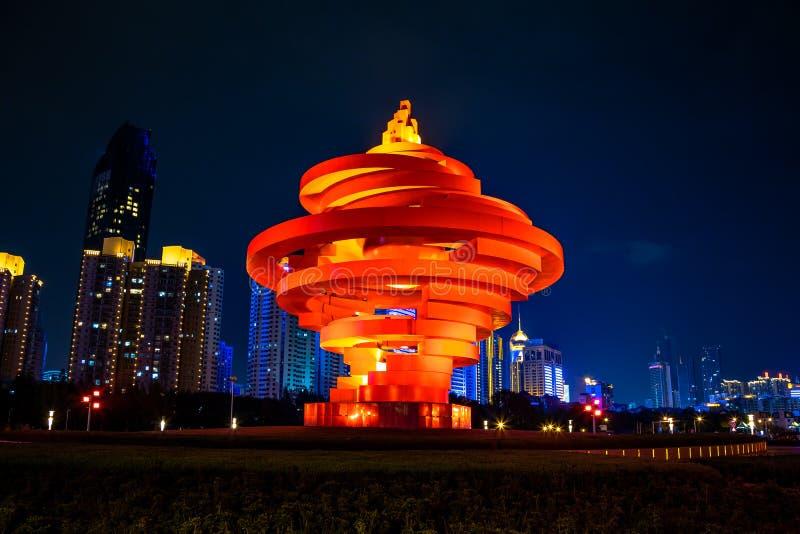 Qingdao, China, 22-09-2015 4 de maio quadrado ( Si Guangchang) de Wu; imagens de stock royalty free