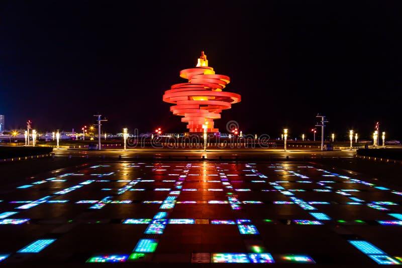Qingdao, China, 22-09-2015 4 de maio quadrado ( Si Guangchang) de Wu; imagem de stock royalty free