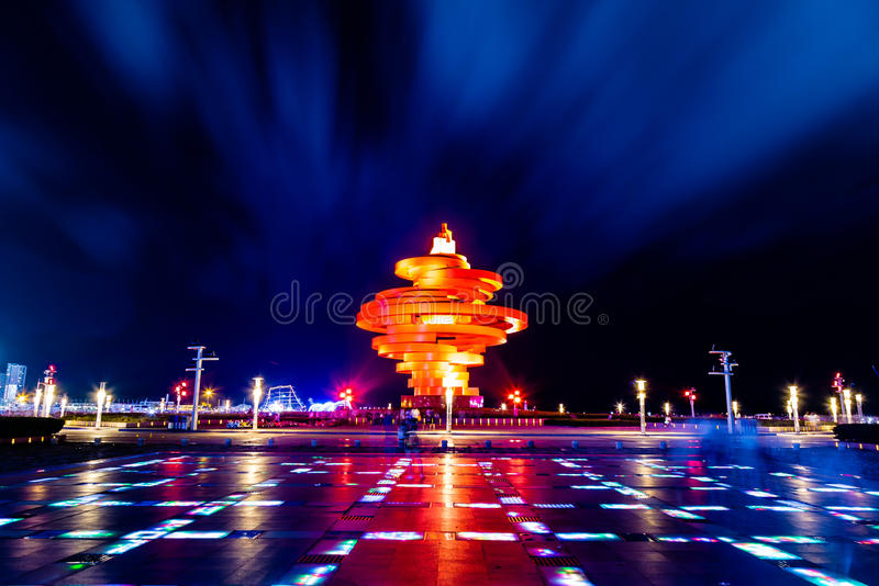 Qingdao, China, 06-08-2016. 4th May square (Wu Si Guangchang). Is a popular tourist attraction in Qingdao and is beautifully lighted at night stock photos