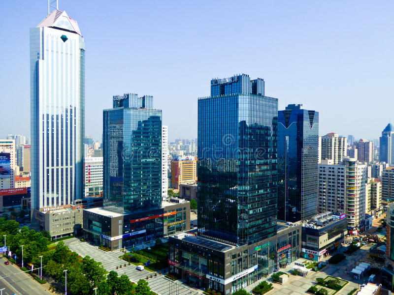 Qingdao city modern buildings. Qingdao city urban office buildings and apartments view in Shandong province China stock image