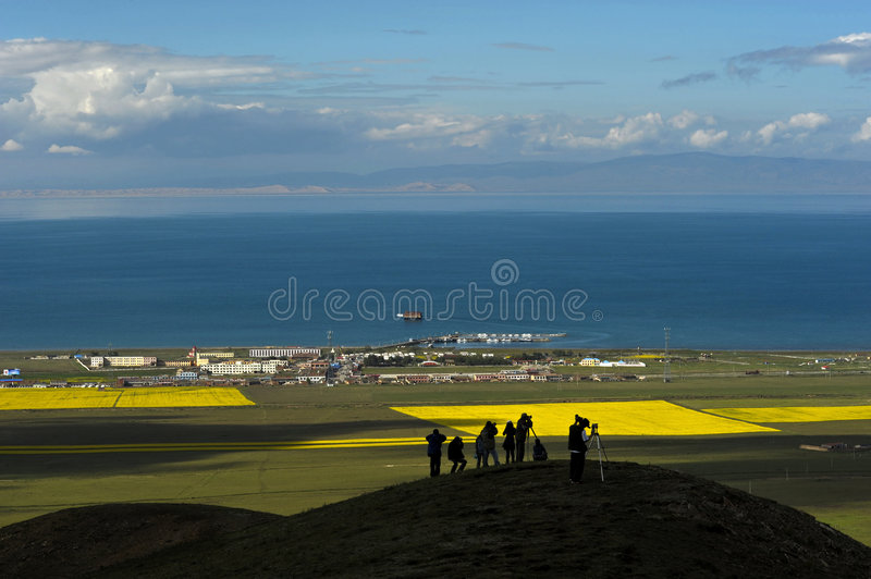 Qinghai Lake. China's largest inland saltwater lake in the northwestern Qinghai Province royalty free stock image
