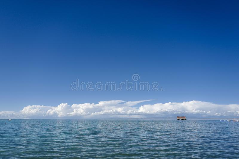 Qinghai Lake is classified as a saline and alkaline lake stock photography