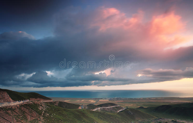 Qinghai Lake Sunrise. Qinghai Lake, also known as library library nur, that Mongolian blue sea was intended. It is located in the northeastern part of Qinghai stock photography