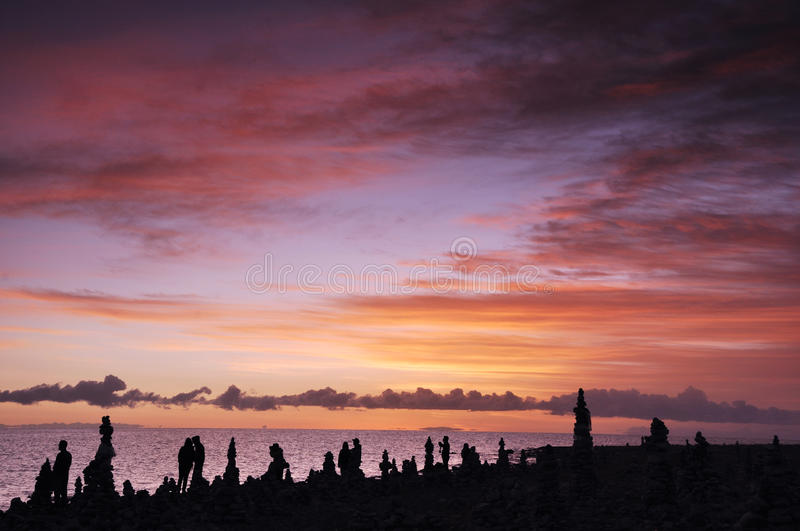 Qinghai Lake at Sunrise. Qinghai Lake is the largest inland saltwater lake in China. Lying in the northeast of Qinghai Province stock image