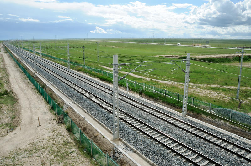 Qinghai-Tibet Railway. In Qinghai,China royalty free stock photography