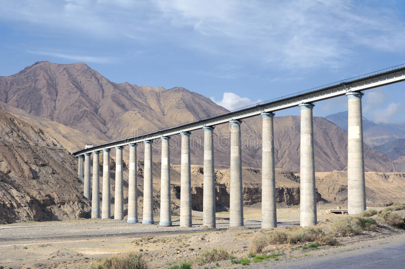 Qinghai-Tibet railway. The landscape of Qinghai-Tibet railway bridge in Kunlun Mountain in Qinghai-Tibetan Plateau in China. This railway is the worlds highest royalty free stock images