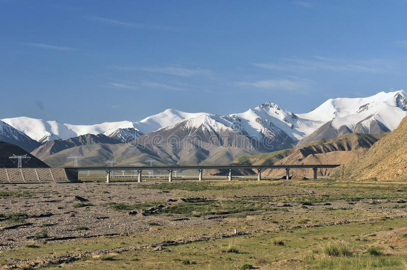 Qinghai-Tibet railway and snow moumtain stock image