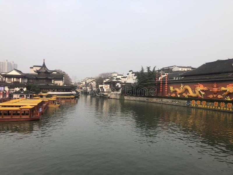 Nanjing. Qinhuai River in Nanjing stock photo