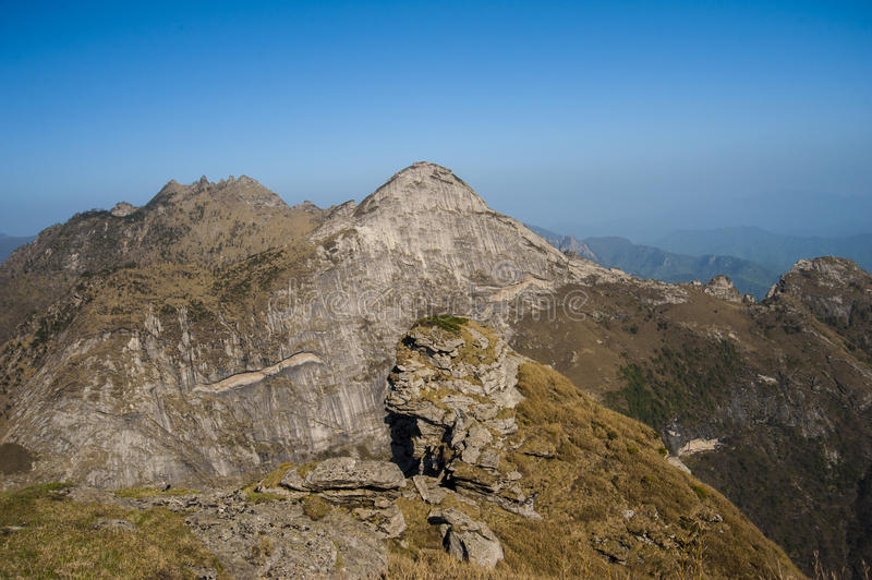 Qinling Mountains. Beautiful Qinling Mountains and blue sky royalty free stock image
