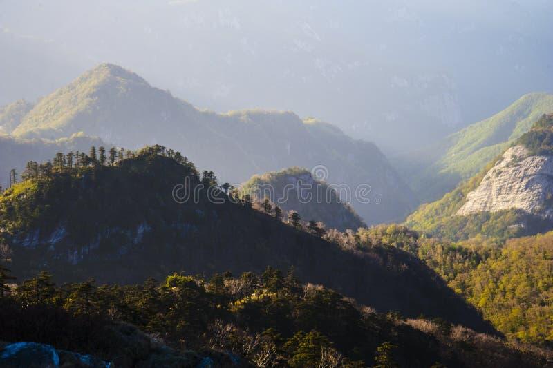Qinling Mountains. Beautiful Qinling Mountains in the sunshine stock photo