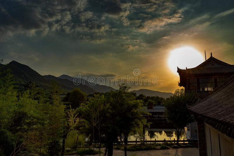 The Qinling Mountains close to Xi`an, China. Sunset over the Qinling Range in Xi`an, China royalty free stock images