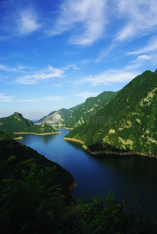 Qinling Reservoir. Hidden in the depths of the Qinling Mountains beautiful scenery stock photos