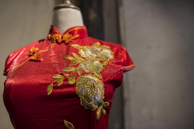 Qipao för Suzhou tsu-silke arkivbild