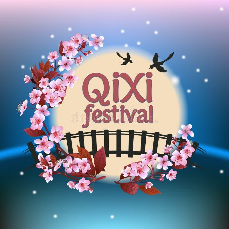 Qixi lub Tanabata festiwalu Wektorowa ilustracja, ilustracja wektor