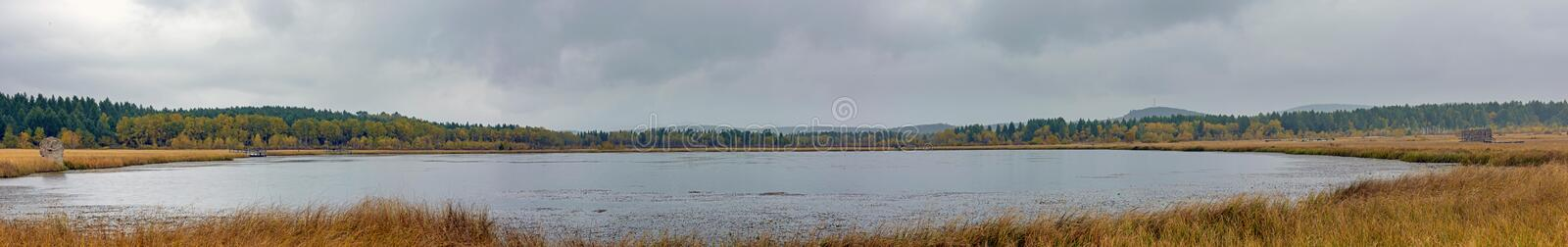 Qixinghu wetland park Autumn scenery. This photo was taken in Qixinghu(Seven Star Lake) wetland park ,Saihaiba National Forest Park ,Bashang Grassland ,Hebei royalty free stock photo