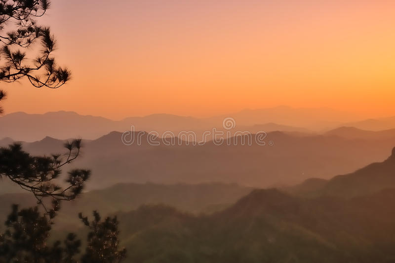 Qiyun mountain sunset royalty free stock images
