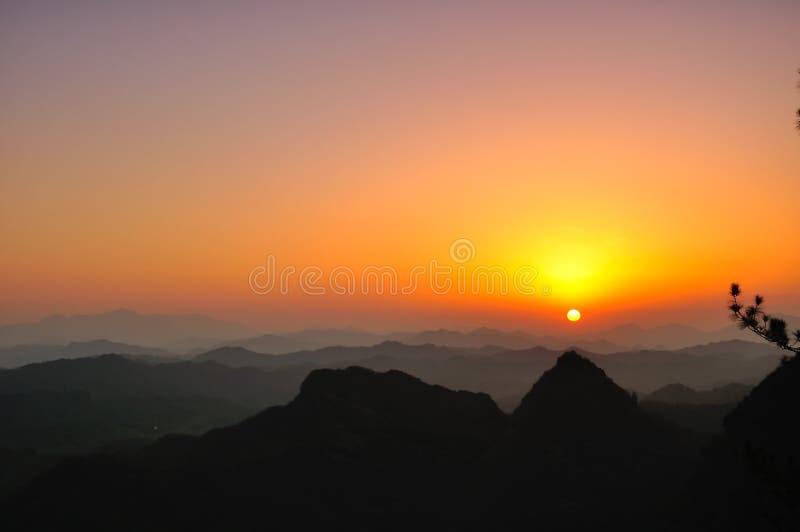 Qiyun mountain sunset stock photo