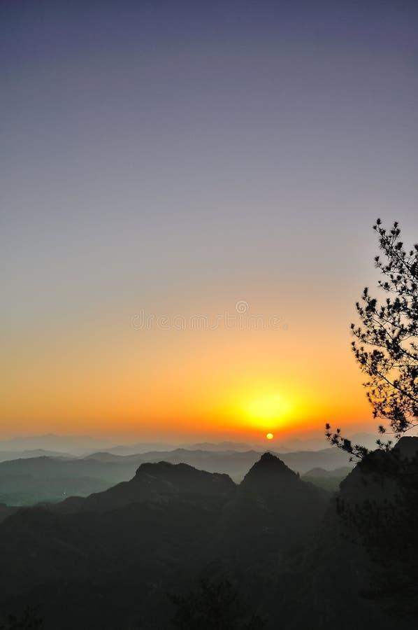 Qiyun mountain sunset stock image
