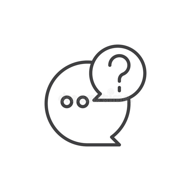 QnA-Linie Ikone, Entwurfsvektorzeichen lizenzfreie abbildung