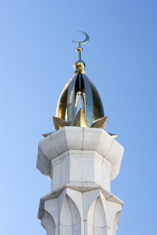 Qolsharif mosque gold minaret/. Close-up of Qolsharif mosque gold minaret royalty free stock photo