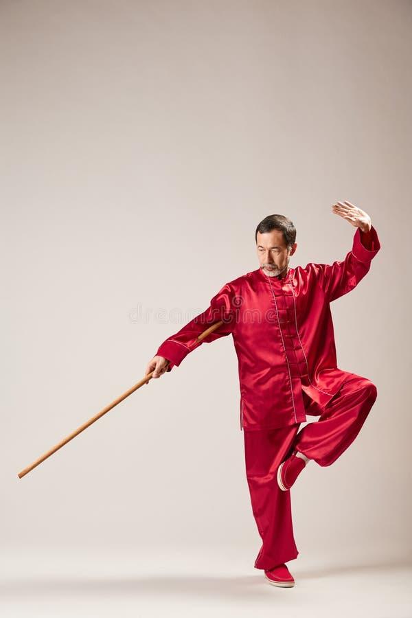 Qong practicante principal mayor de Qi taijiquan foto de archivo