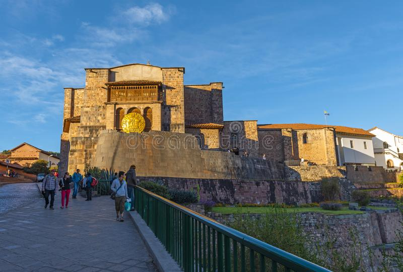 Qorikancha太阳寺庙在库斯科,秘鲁 库存图片