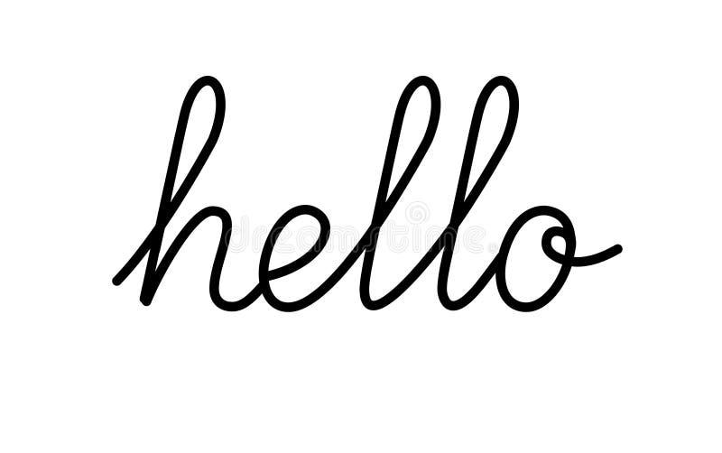 Qoute здравствуйте! вектора черно-белое и высокая литерность Слово и сообщение приветствию Lineart Handdrawn текст иллюстрация 10 иллюстрация вектора