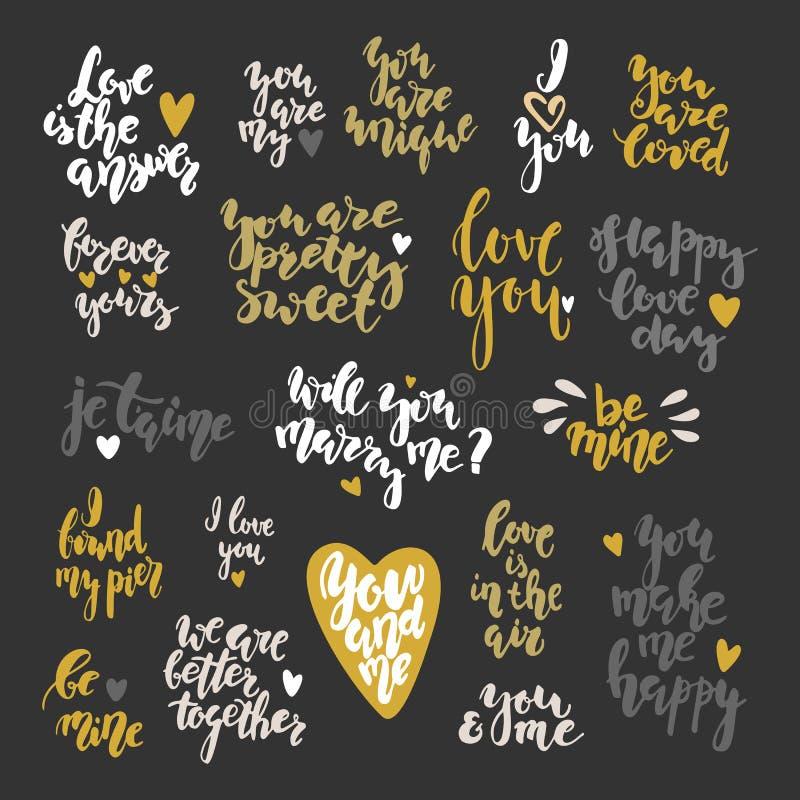 Qoutes inspirés de lettrage tiré par la main de jour du ` s de Valentine réglés illustration libre de droits