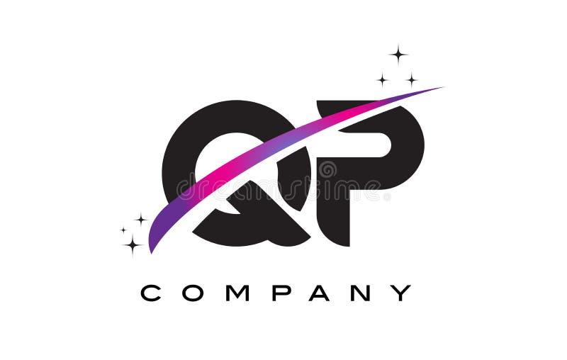 QP Q P Black Letter Logo Design with Purple Magenta Swoosh. And Stars stock illustration