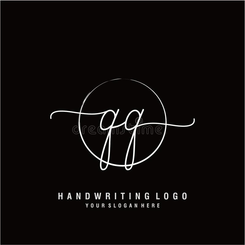 Qq Initial Handwriting Logo Design Stock Vector Illustration Of Celebration Couple 185354864