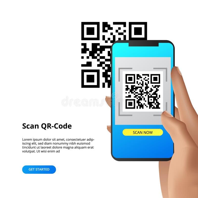 QR代码扫描照相机付款或一切的智能手机概念 库存例证