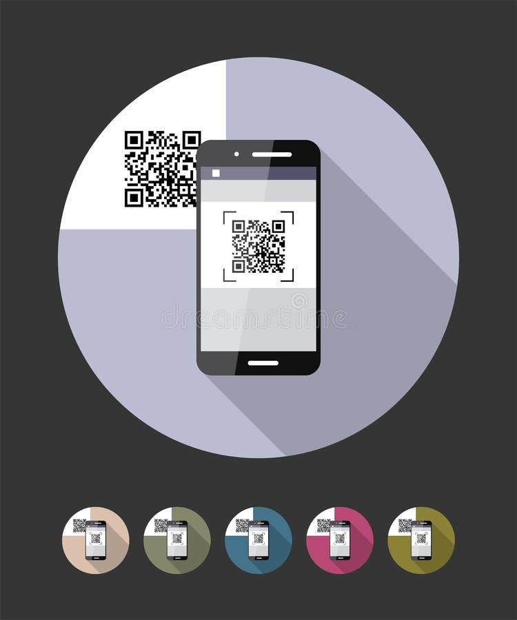QR代码扫描电话 传染媒介平的样式例证 皇族释放例证