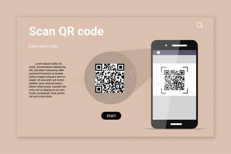 QR代码扫描颜色传染媒介着陆页模板 皇族释放例证