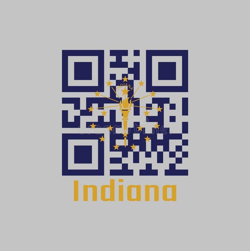QR代码组印第安纳旗子的颜色 十三个星一个外面圈子围拢的金火炬,一个内在半圈子五 库存例证